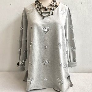 French Terry Silver Sequin Sweatshirt Tunic Top